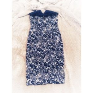 Dresses - Strapless Navy Brocade Style Dress